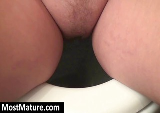 Chubby blonde MILF goes pee and takes a shower