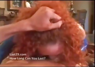 Hot redhead soccer mom goes down on his cock and