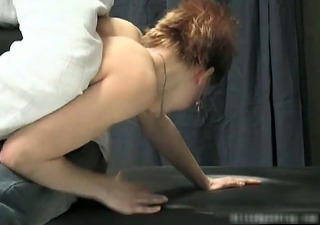 Nasty hot MILF redhead babe gets spanked