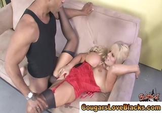 Mature cougar milf rides big black cock hard