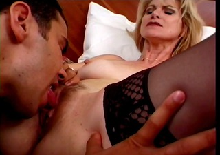 sexy blonde aged cougar bangs male escort