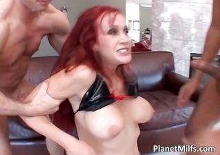 Busty redhead MILF fucking and sucking