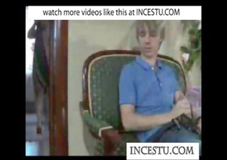 Son plays with moms panties at incestu.com